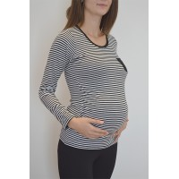 Maternity Black and White Striped Pocket Front T-Shirt