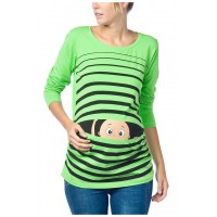 Maternity Electric Green Peep Baby Stamp Shirt