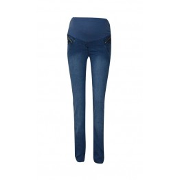Maternity Dark Blue Soft Jeans with Zippers