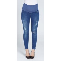 Maternity Blue Soft Stretchy Skinny Jeans with Zippers