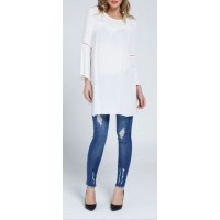 Maternity Blue Slim Fit Jeans with Patches
