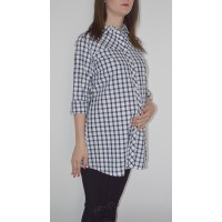 Maternity White and Dark Blue Squares Shirt