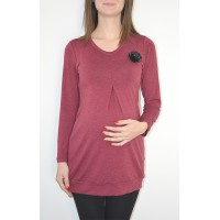 Maternity Dark Red Tunic Top with Black Flower Accent